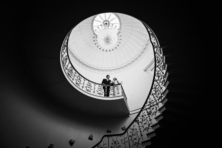 Denton Hall Wedding - couple on the staircase