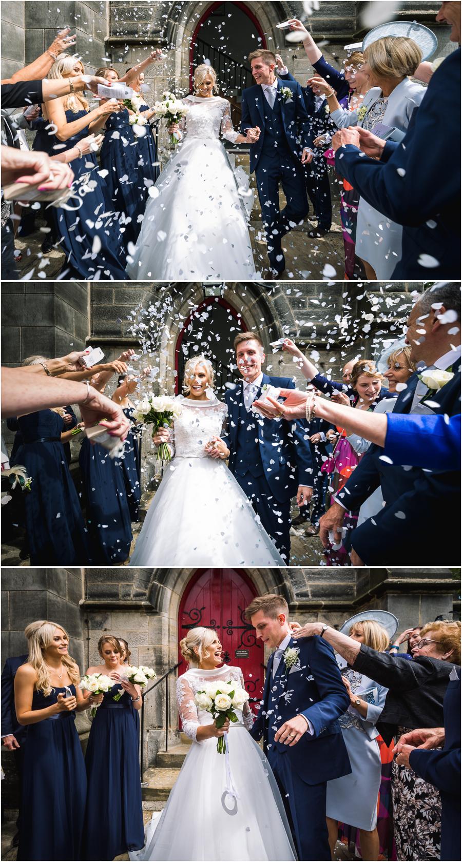 Confetti throwing outside Christ Church in Harrogate