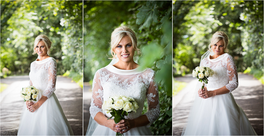 Wedding at Wood Hall - Bride portraits on the road above the venue