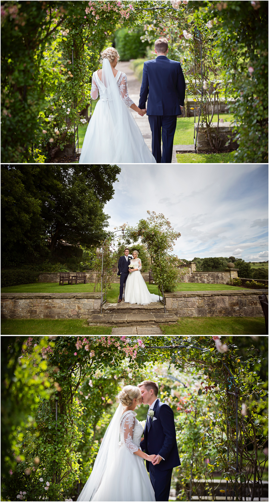 Wedding at Wood Hall - couple portraits in the gardens