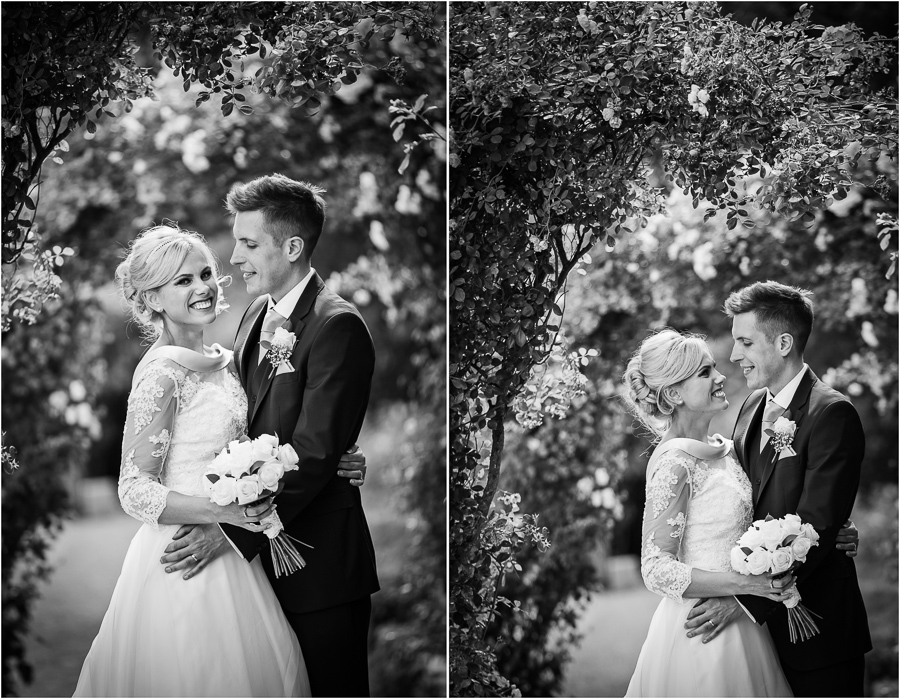 Wedding at Wood Hall - couple portraits under the blossoms