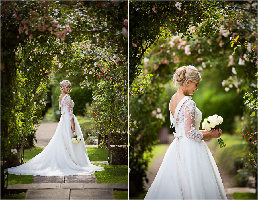Wedding at Wood Hall - bride portraits under the blossom trees