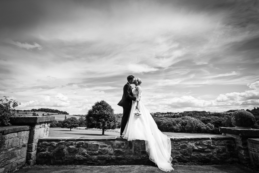 Wedding at Wood Hall - couple portrait in front of a stunning view