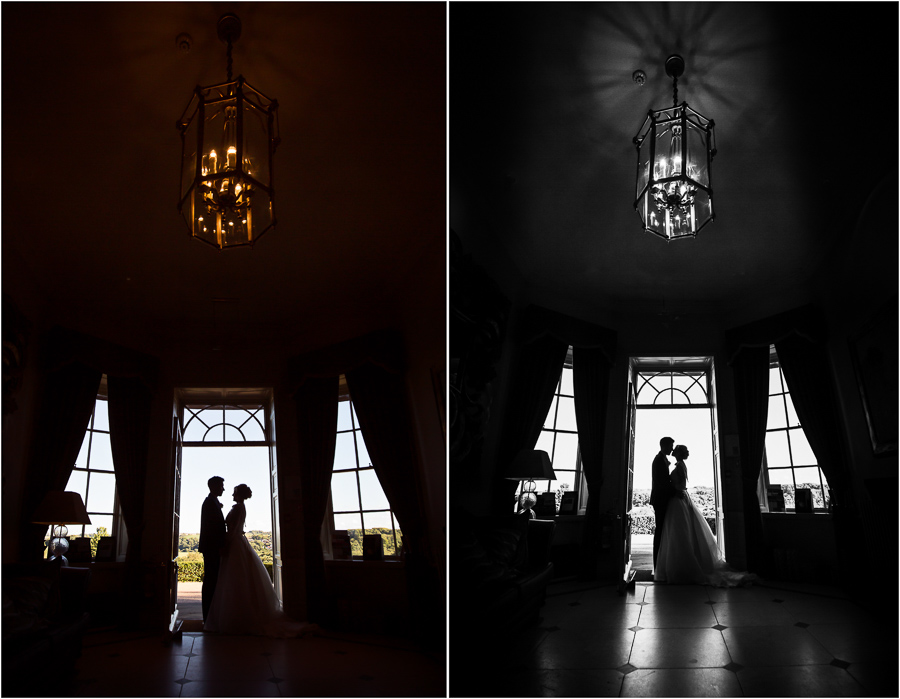 Wedding at Wood Hall - couple silhouetted in the doorway