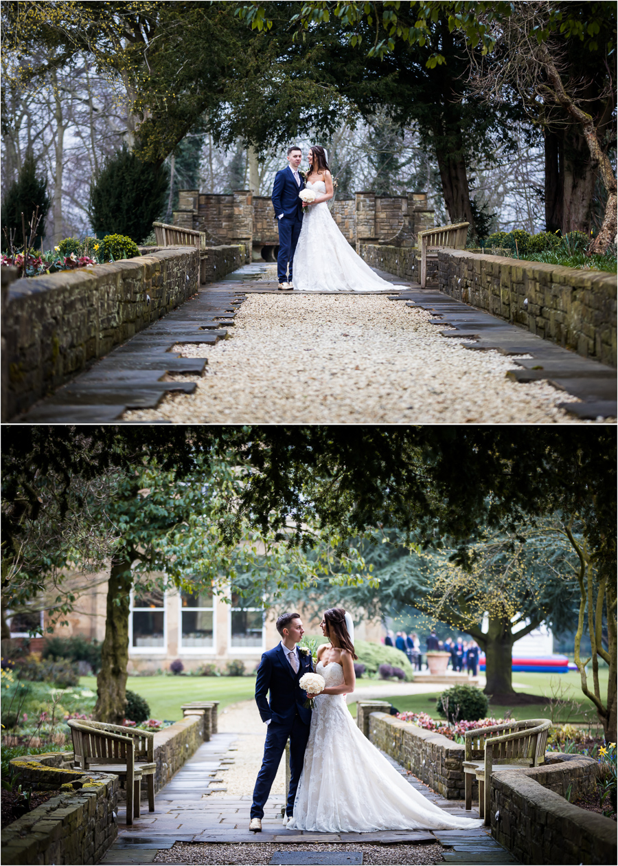couple in the grounds of Bowcliffe Hall