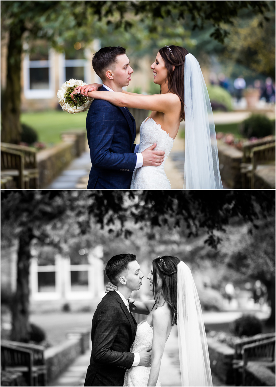 yorkshire wedding photographer - couple in the grounds of Bowvliffe Hall