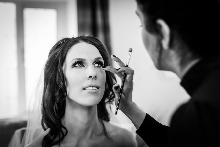 yorkshire wedding photographer - bride having makeup done