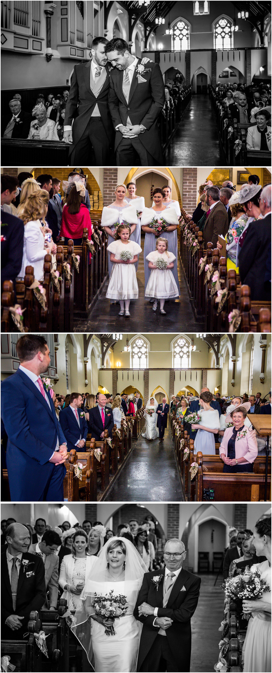 yorkshire wedding photographer - flower girls walking down the aisle