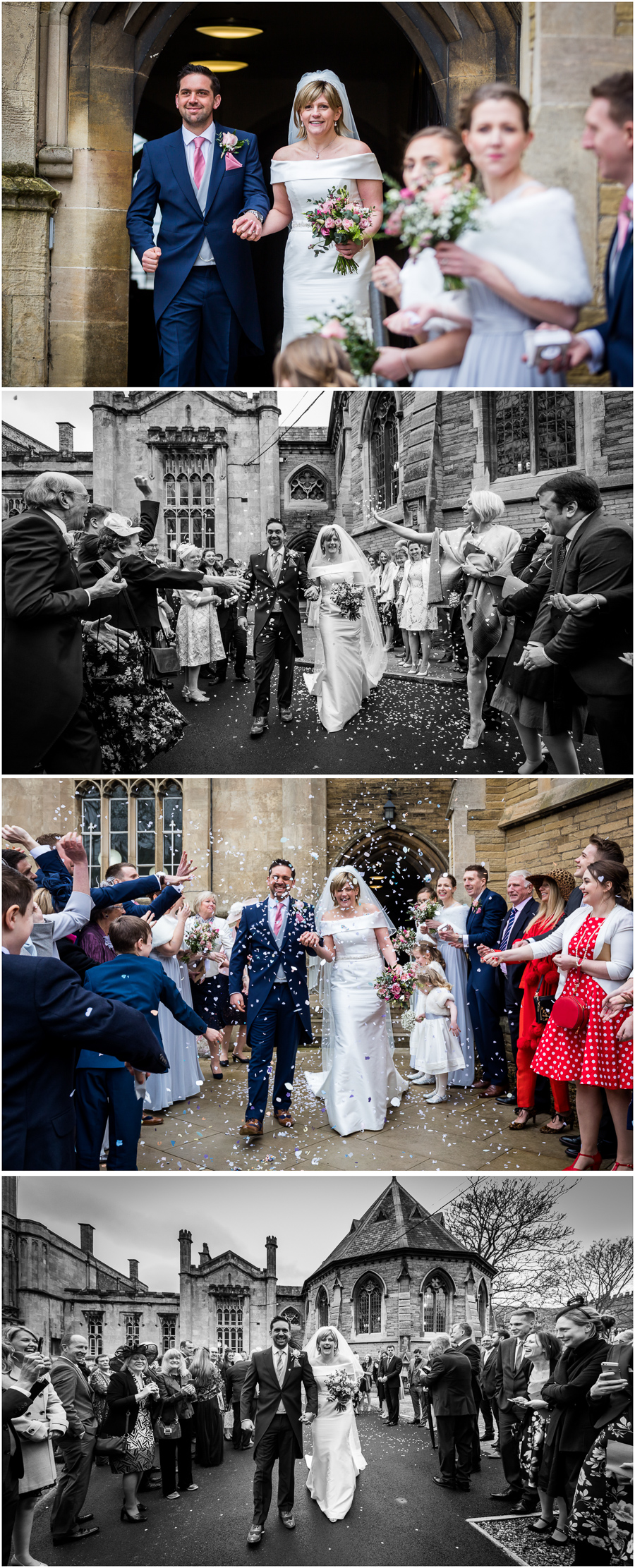 York wedding Photographer - confetti throwing outside St Peters school chapel