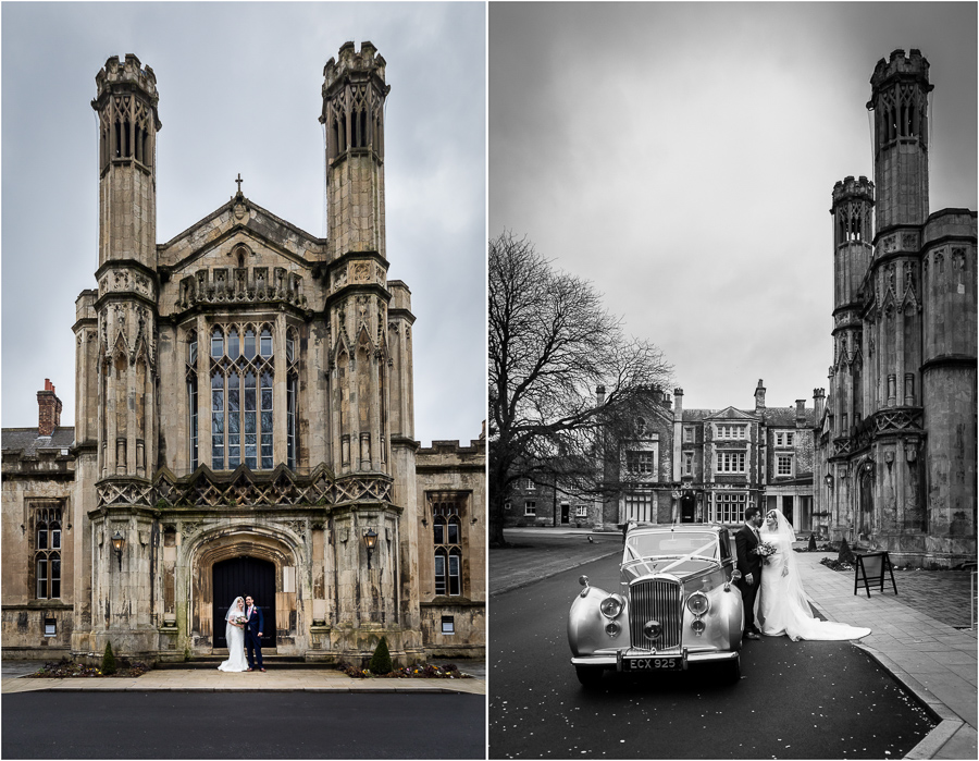 York wedding Photographer - couple portraits outside St Peters school chapel