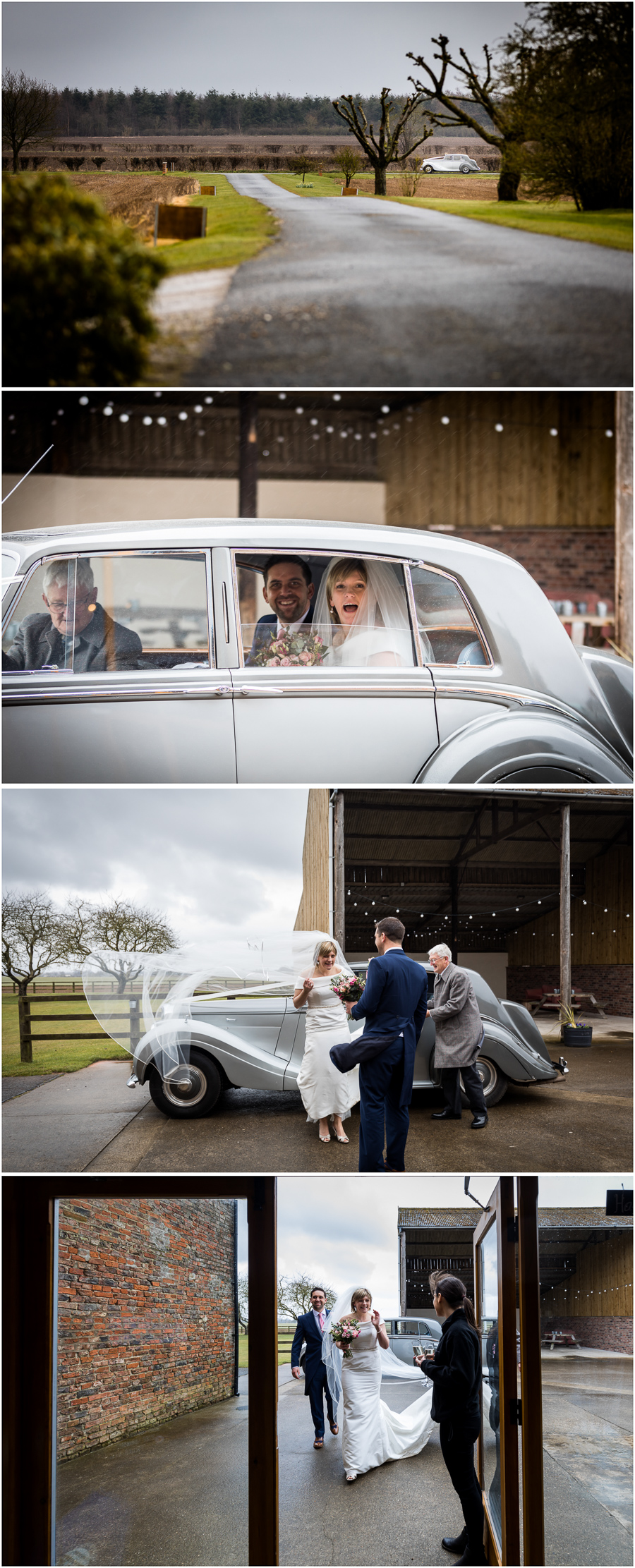 yorkshire wedding photographer - couple arriving at Barmbyfields wedding venue