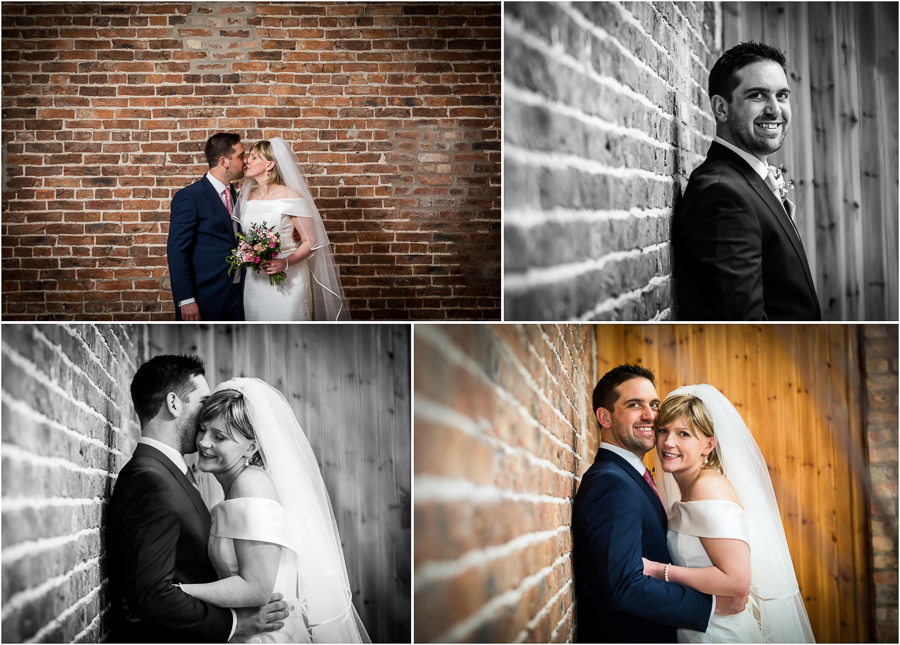 yorkshire wedding photographer - couple portraits inside Barmbyfield barns