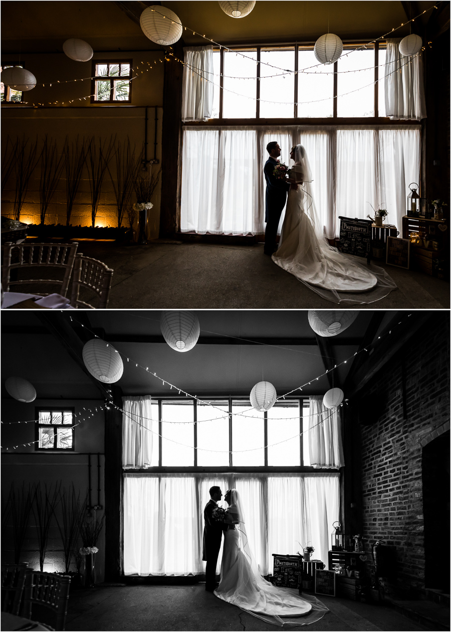 yorkshire wedding photographer - couple silhouette portraits inside Barmbyfield barns