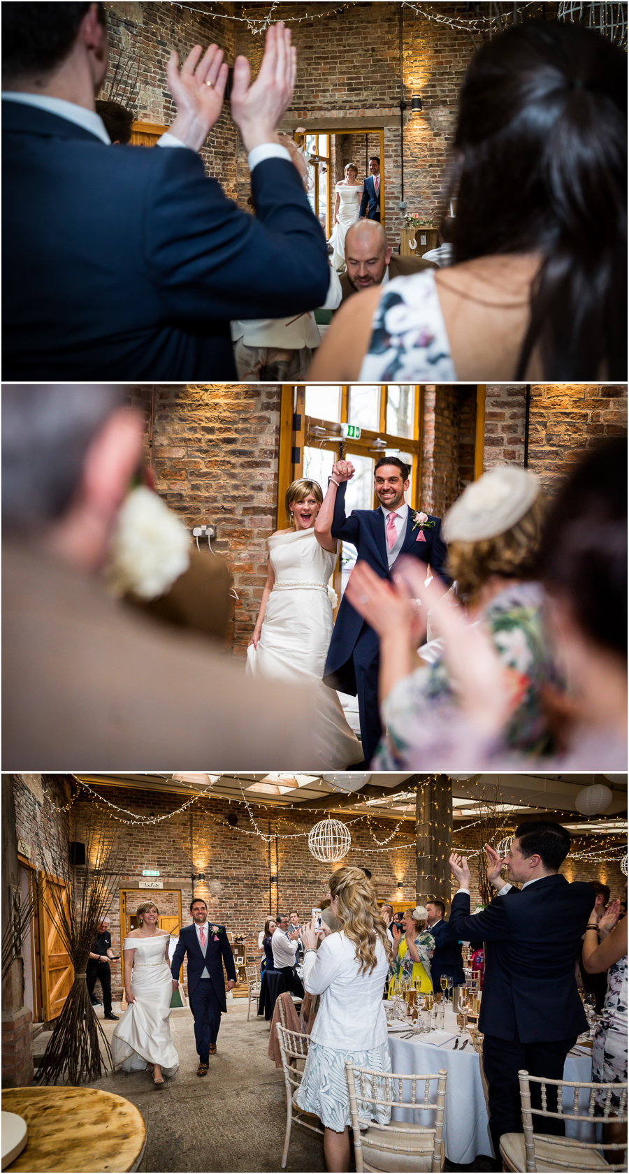 yorkshire wedding photographer - couple entering the wedding breakfast room in Barmbyfields barns