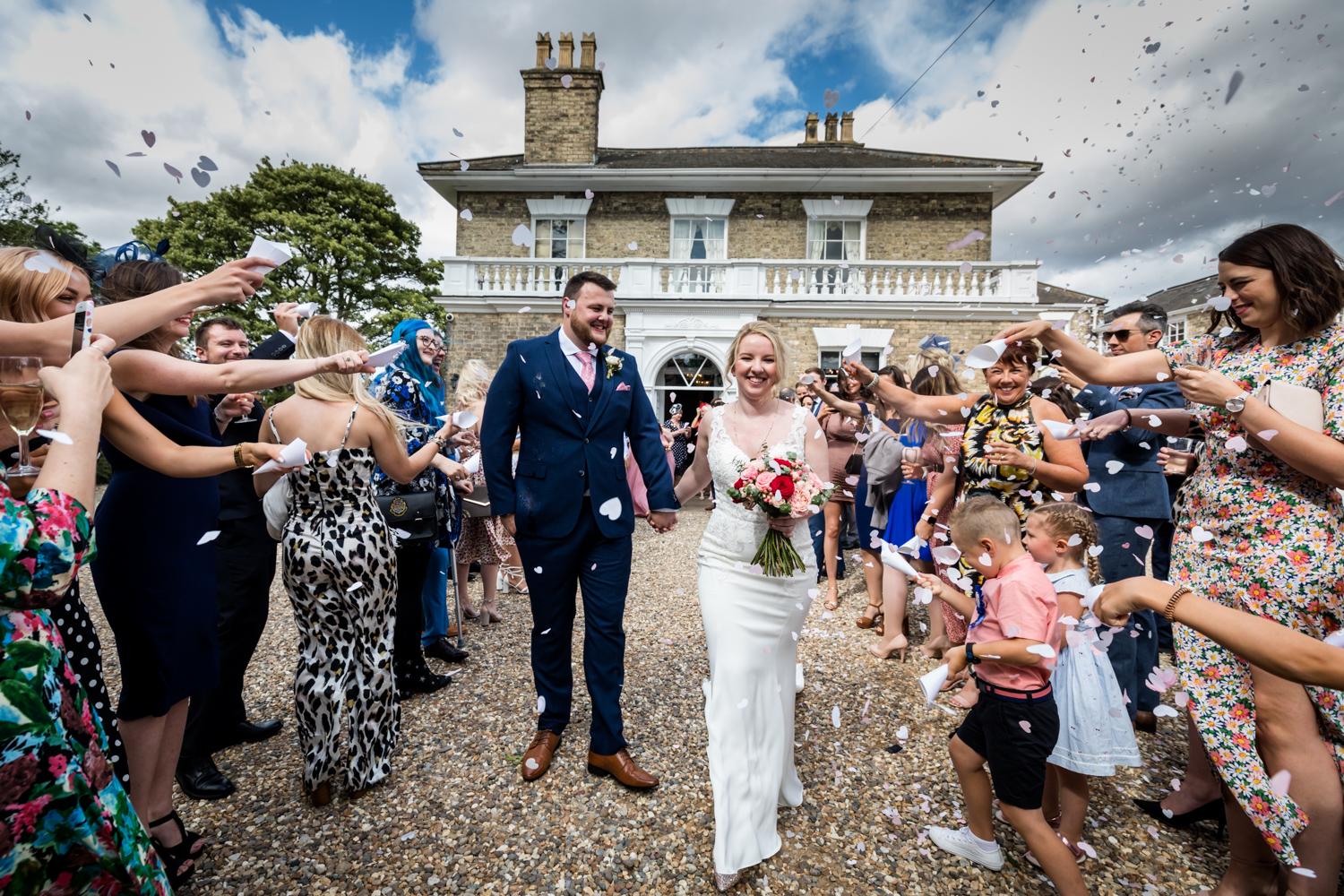 Dunedin House Wedding Photography - Confetti in front of the house