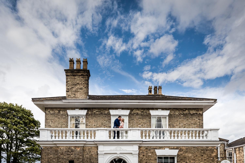 Dunedin House Wedding Photography - couple portrait on the balcony