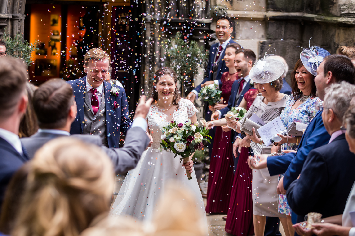 Principal Hotel York Wedding Photographer - couple under the confetti