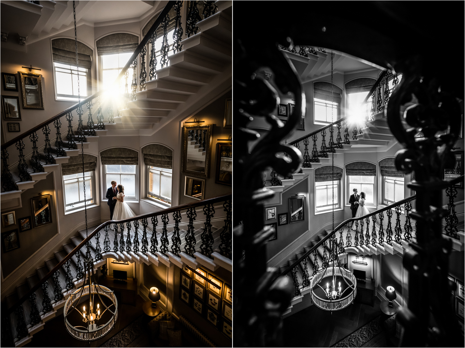 Principal Hotel York Wedding Photographer - couple on the grand staircase